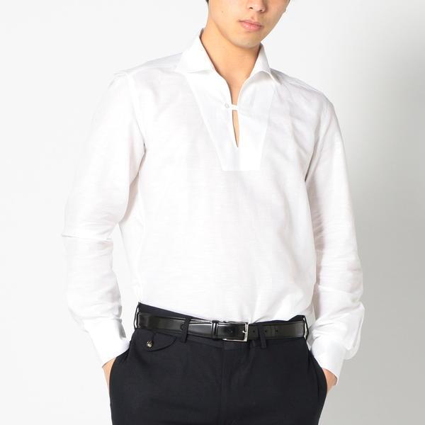 SD: イタリア製 コットン/リネン カプリシャツ(ホワイト)/シップス(メンズ)(SHIPS)