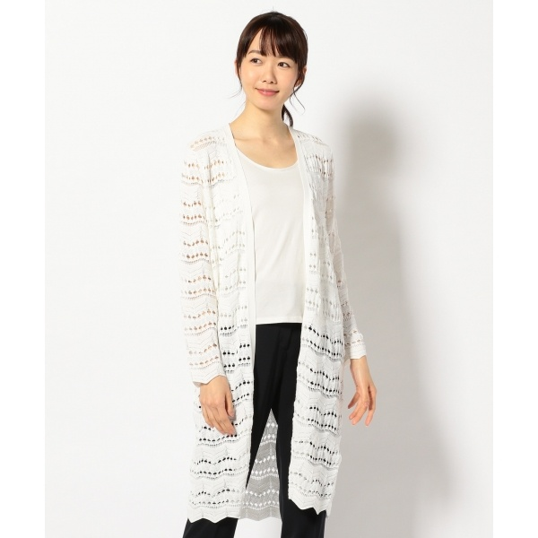 【洗える】Cotton LaceStitch ニットカーディガン/アイシービー(ICB)