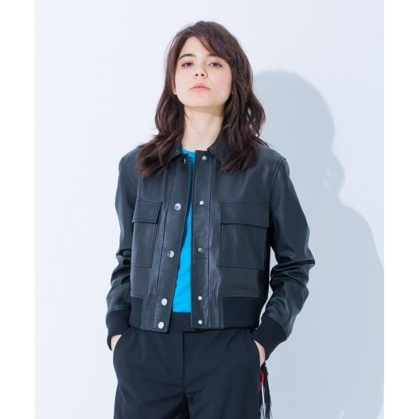 【春のおすすめアウター】ファイングレインナッパ レザージャケット/カルバン・クライン ウィメン(Calvin Klein women)