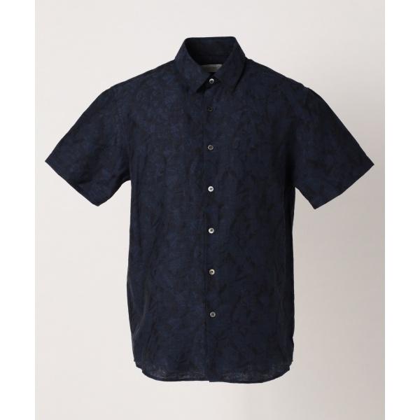 【春のおすすめトップス】クリンクルリネンジャガード半袖 シャツ/カルバン・クライン メン(Calvin Klein men)