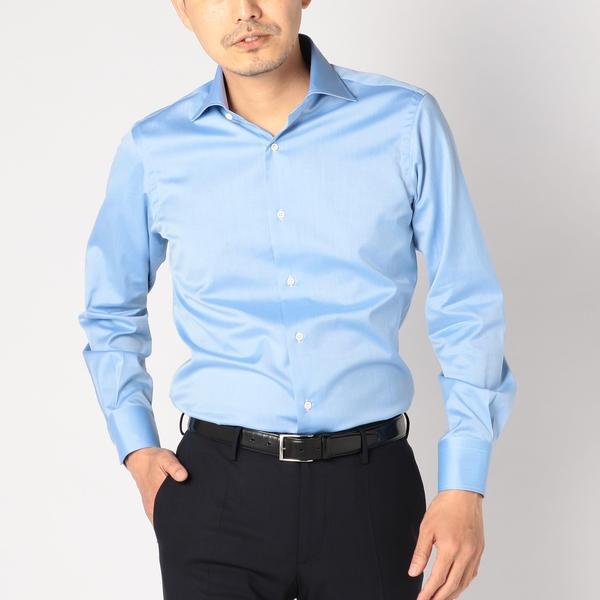 SD:【ALBINI社製生地】ツイル ワイドカラー シャツ(ブルー)/シップス(メンズ)(SHIPS)