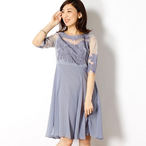 デコルテシースルーチュール刺繍切替シフォンフレアーワンピース/ドリードール(Dorry Doll)