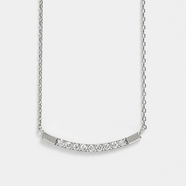 K10 ダイヤモンド9石 カーブ横型ネックレス( WG)/テイクアップ ピュア(TAKE-UP Pure)