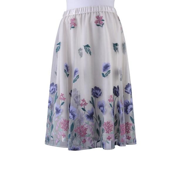 全2色【大きいサイズ】【42・46】フラワー刺繍チュールフレアスカート/ローズティアラ(大きいサイズ)(Rose Tiara)