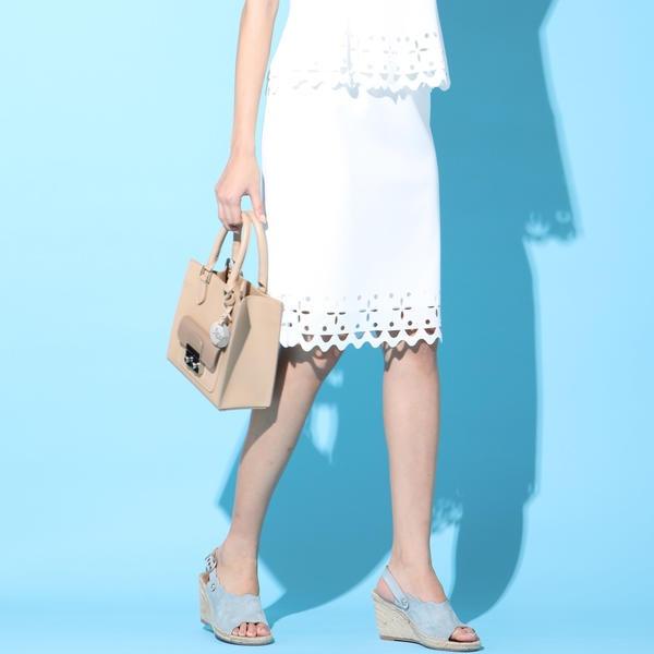 【セットアップ対応】レーザーカットパンチングスカート/ビアッジョブルー(Viaggio blu)