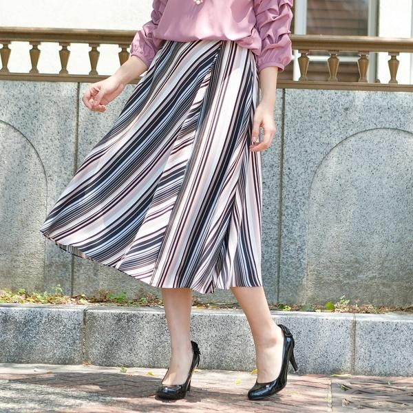全2色【大きいサイズ】【42・46】マルチストライプフレアスカート/ローズティアラ(大きいサイズ)(Rose Tiara)