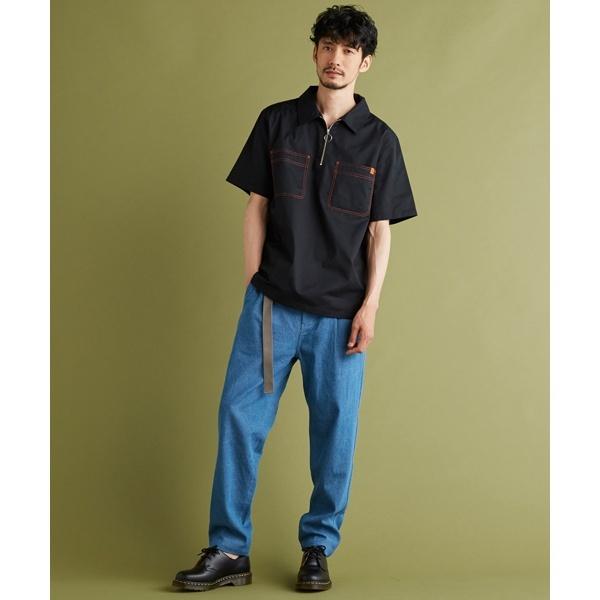 (MORGAN HOMME) モルガンオム ユニバーサルオーバーオールステッチジップシャツ/