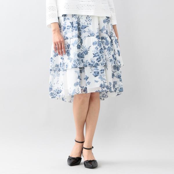 フラワーパピヨンプリントスカート/トゥービーシック(TO BE CHIC)