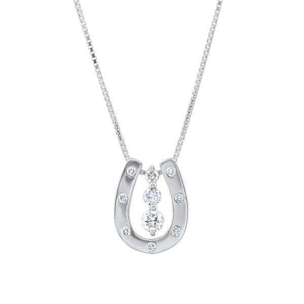 プラチナ ダイヤモンド 馬蹄モチーフ 2Wayネックレス(トータル0.20ct)/エステール(ESTELLE)