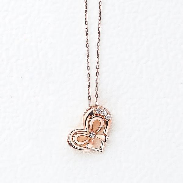 K10 ピンクゴールド ダイヤモンド ハートモチーフ ネックレス/エステール(ESTELLE)