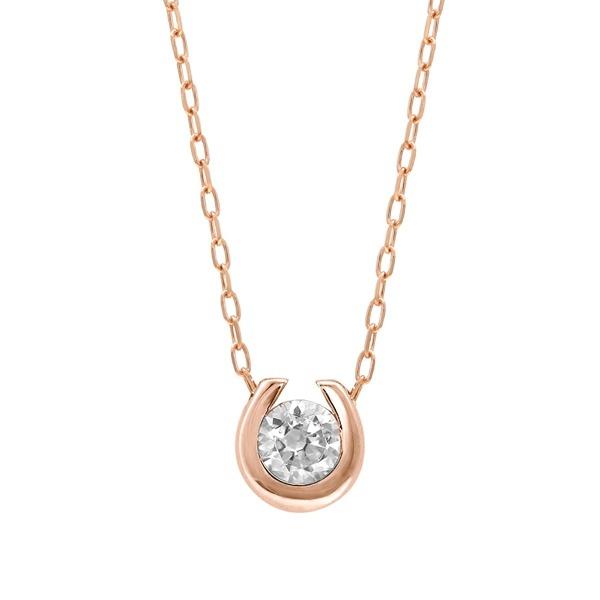 【WEB限定】K10 ピンクゴールド ダイヤモンド 馬蹄モチーフ ネックレス/エステール(ESTELLE)