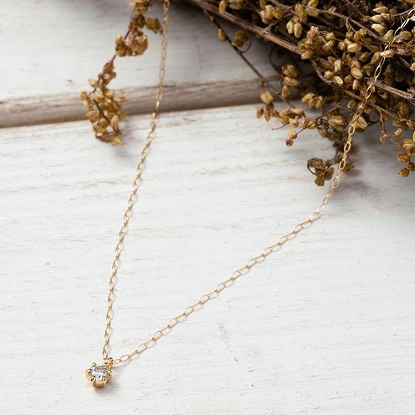 【WEB限定】K18 イエローゴールド ダイヤモンド ネックレス (0.06ct)/エステール(ESTELLE)