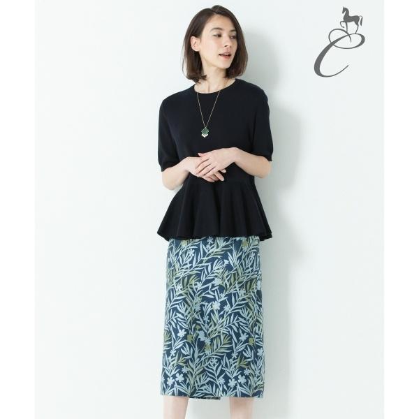 【Class Lounge】FLOWER JAQUARD ペンシルスカート/自由区(JIYUKU)