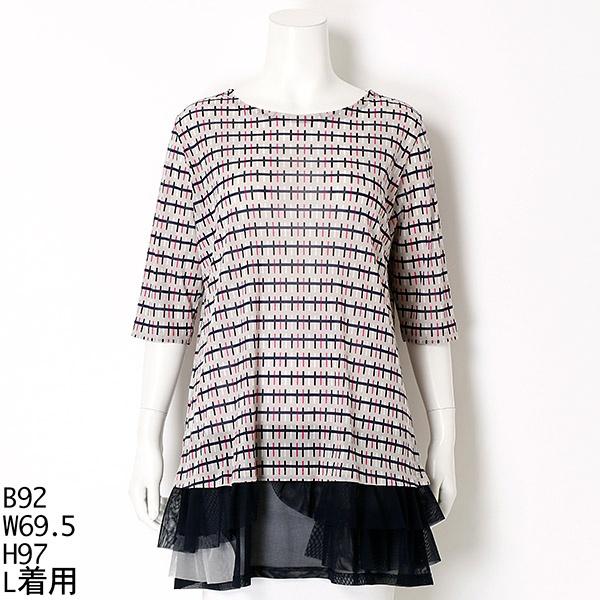 全3色【大きいサイズ】【L・LL】幾何プリントチュニックTシャツ/ピサーノ(PISANO)