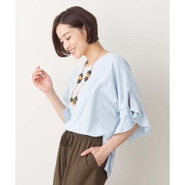 全3色【大きいサイズ】【L・LL】フリル袖プルオーバーTシャツ/ピサーノ(PISANO)