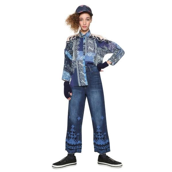 オープンカラー総柄プリントシャツ(裾コード付き・七分袖)/デシグアル(Desigual)