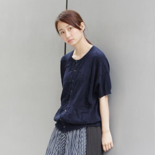 リボンフラワー編み柄ニット半袖カーディガン/スーパーハッカ(SUPER HAKKA)