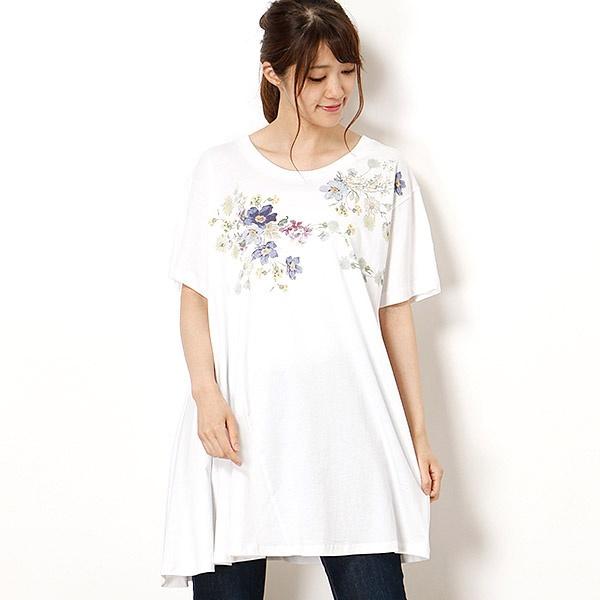 シルケット天竺野花のエチュードプリントチュニックTシャツ/スーパーハッカ(SUPER HAKKA)