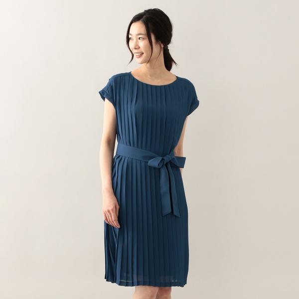 ジョーゼットプリーツロング丈ドレス/アマカ(AMACA)