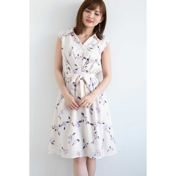 ◆ペインティングフラワーシャツワンピース/プロポーションボディドレッシング(PROPORTION BODY DRESSING)