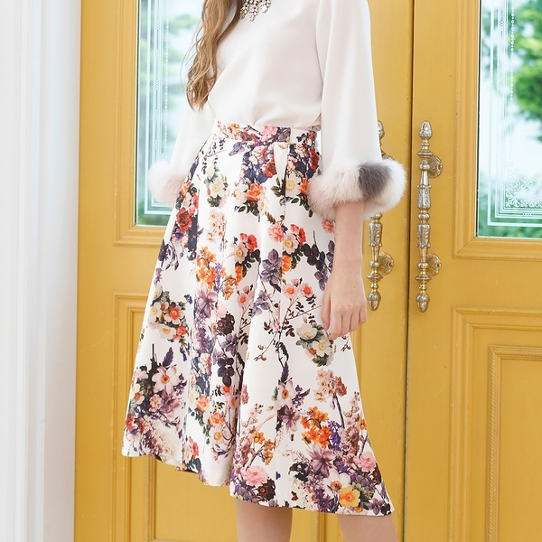 ボタニカルフラワーフィッシュテールスカート/ローズティアラ(Rose Tiara)