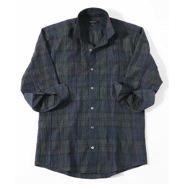 Doufine Men Oversized No-Iron Two Toned Stripe Long-Sleeve Flannel Shirts