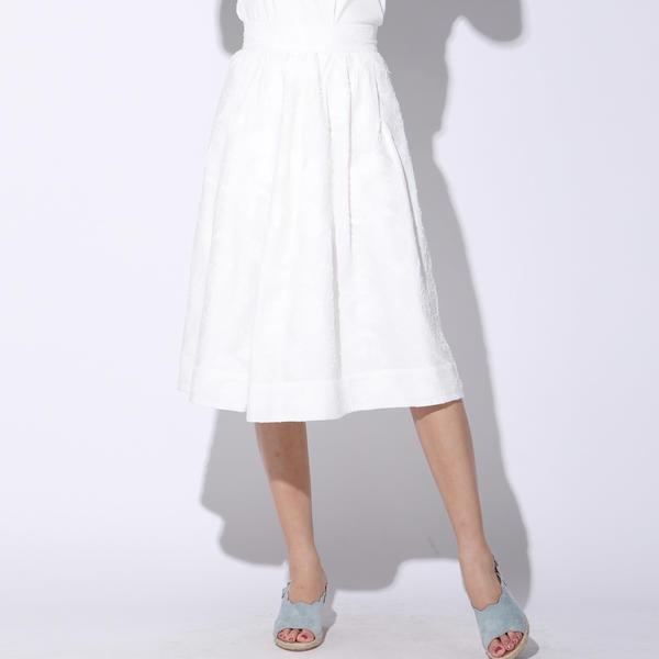 【洗濯機OK】カットジャガードタックフレアスカート/ビアッジョブルー(Viaggio blu)