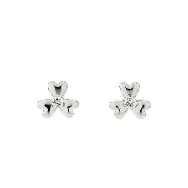 K10 ホワイトゴールド ダイヤモンド クローバーモチーフ ピアス/エステール(ESTELLE)