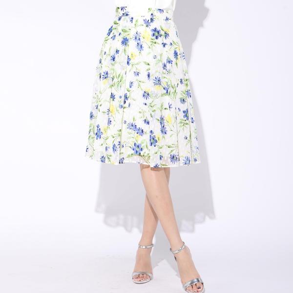 シフォンラメカットジャカードフラワープリントスカート/ビアッジョブルー(Viaggio blu)