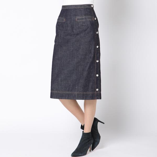 ≪大きいサイズ≫サイドパーツデニムスカート/ビアッジョブルー(大きいサイズ)(Viaggio blu)