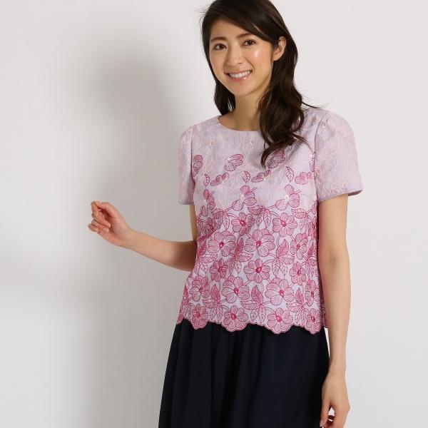 【洗える】フラワー刺しゅうシャツ/スーナウーナ(SunaUna)