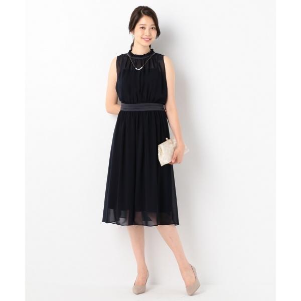 【結婚式やパーティに】パウダーシフォンギャザー ドレス/組曲 L(KUMIKYOKU L)