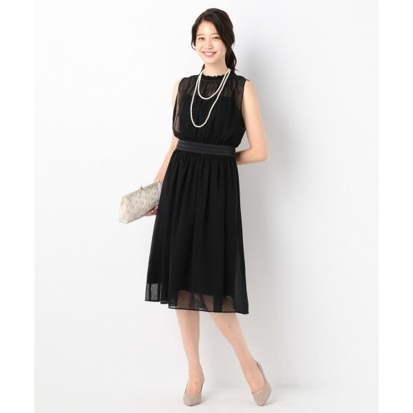 【結婚式やパーティに】パウダードットシフォンギャザー ドレス/組曲 S(KUMIKYOKU S)