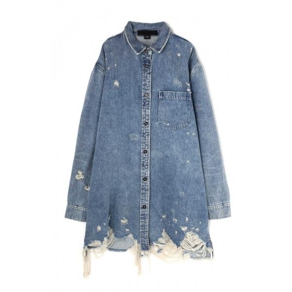 クラッシュデニムシャツジャケット/ローズバッド(ROSE BUD)