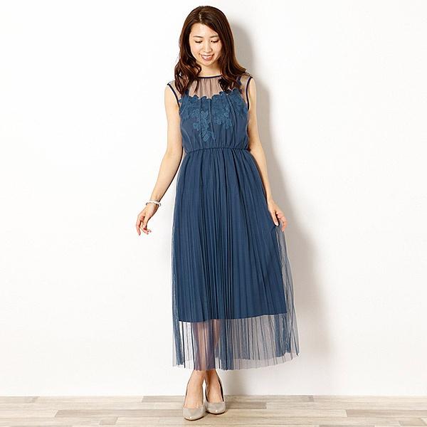 チュールプリーツワンピース重ね 刺繍モチーフ付きワンピースドレス/リュクス ブリュレ(Luxe brille)