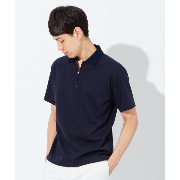 【Made in Japan】ジップ ポロシャツ/23区 HOMME(NIJYUSANKU HOMME)