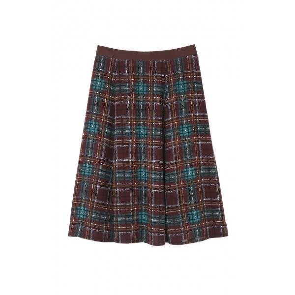 ◆大きいサイズ◆チェックプリントフレアースカート/アリスバーリー(Lサイズ)(Aylesbury)