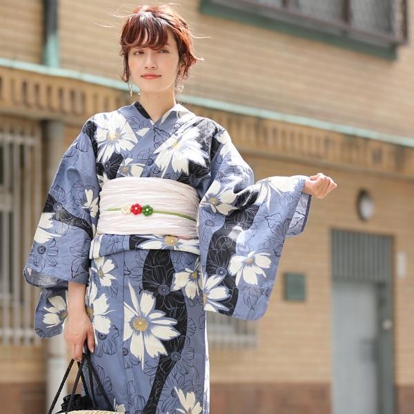 高級変わり織り浴衣3点セット ブルーグレーにマーガレットよろけ/ウタタネ(utatane)