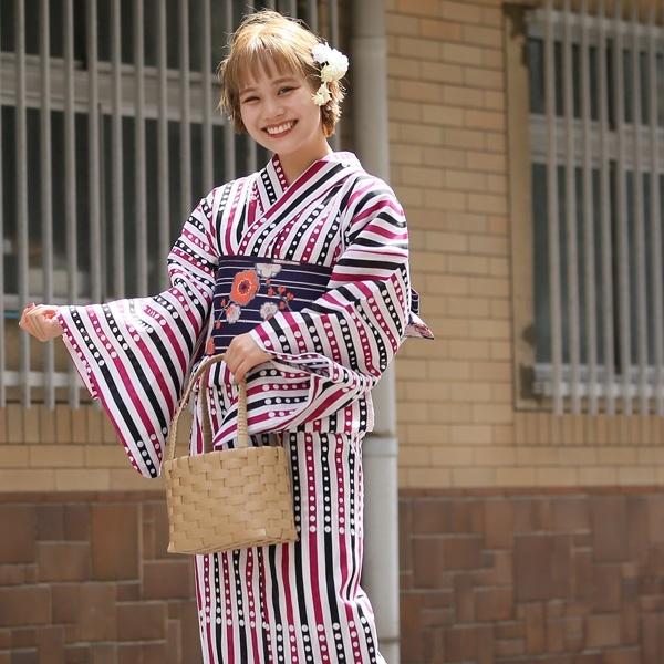 高級変わり織り浴衣3点セット 紫と黒の縞々ドット/ウタタネ(utatane)
