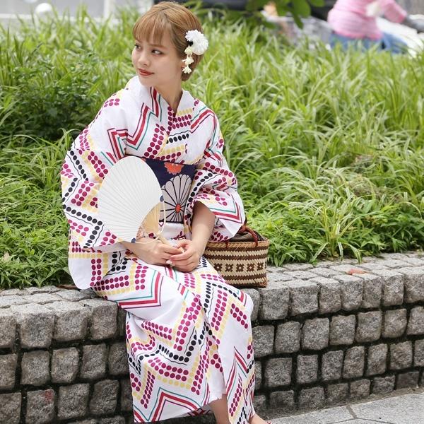高級変わり織り浴衣3点セット  水玉ミッドセンチュリー/ウタタネ(utatane)