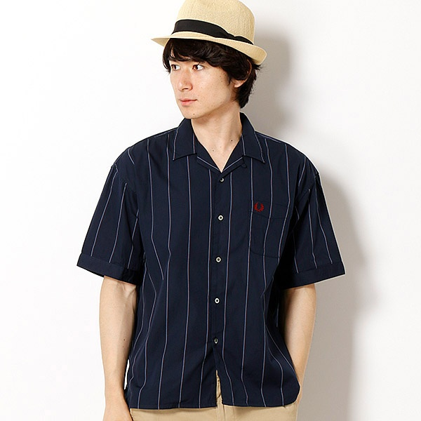 【18AW】OPEN COLLAR S/S SHIRT/フレッドペリー(メンズ)(FRED PERRY)