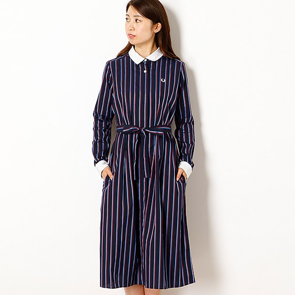【18AW】STRIPED SHIRT DRESS/フレッドペリー(レディス)(FRED PERRY)