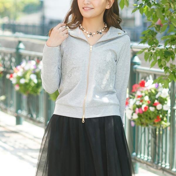 フラワー刺繍バックフリルパーカー/ローズティアラ(大きいサイズ)(Rose Tiara)