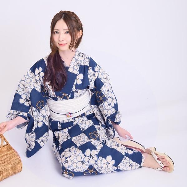 【utatane 高級変わり織り浴衣3点セット リネン麻混・ブルーのなでしこ市松】/ウタタネ(utatane)