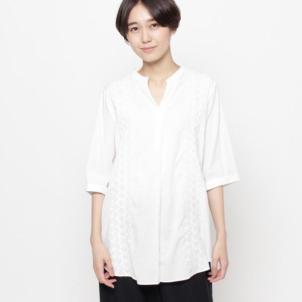 【洗える】ジオメトリック刺しゅうシャツ/スマートピンク(smart pink)
