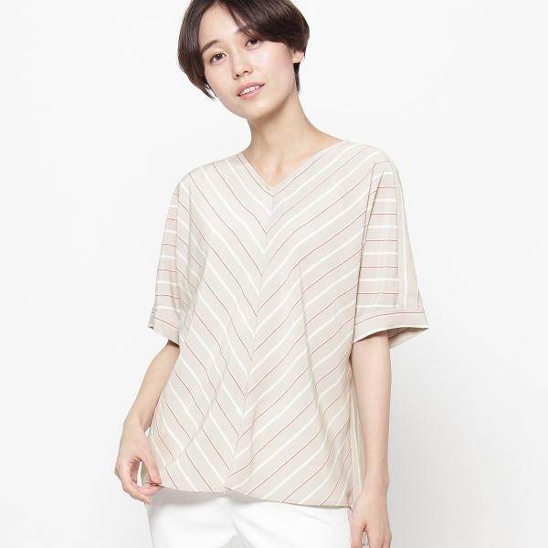 【洗える】デシンストライプシャツ/スマートピンク(smart pink)