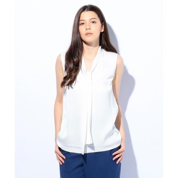 シルクストレッチジョーゼットノースリーブ ブラウス/カルバン・クライン ウィメン(Calvin Klein women)