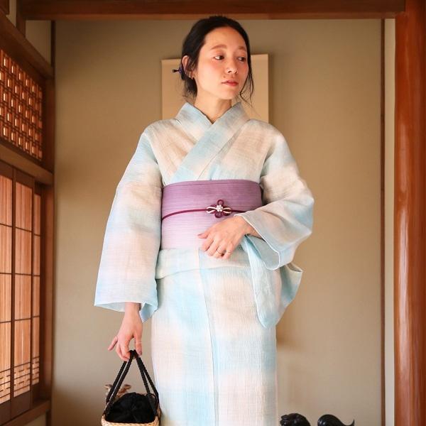 【utatane 本麻 近江ちぢみ 浴衣3点セット 水色ぼかし格子 お仕立て上がり】/ウタタネ(utatane)