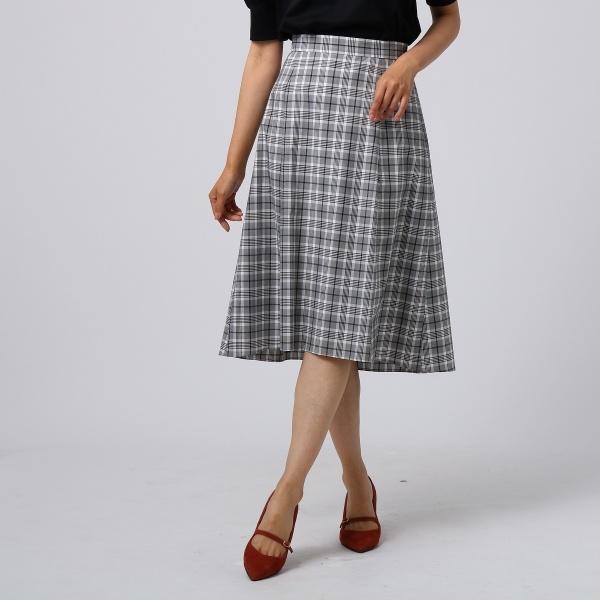 [L]【洗える】シャルマンチェック フィッシュテールスカート/アンタイトル(UNTITLED)
