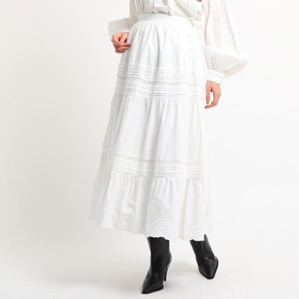 【洗える】ヴィンテージライク刺繍タックスカート/ドレステリア(レディス)(DRESSTERIOR Ladies)